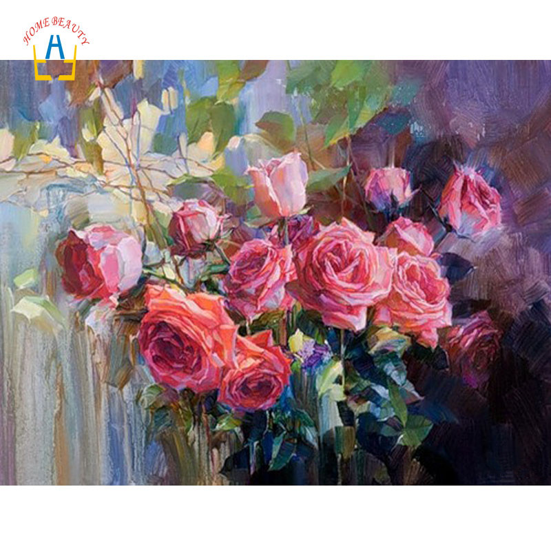 Diy acrylic paints painting by numbers rose flowers pictures of nordic wall paintings for the kitchen art gift home decor WYA076