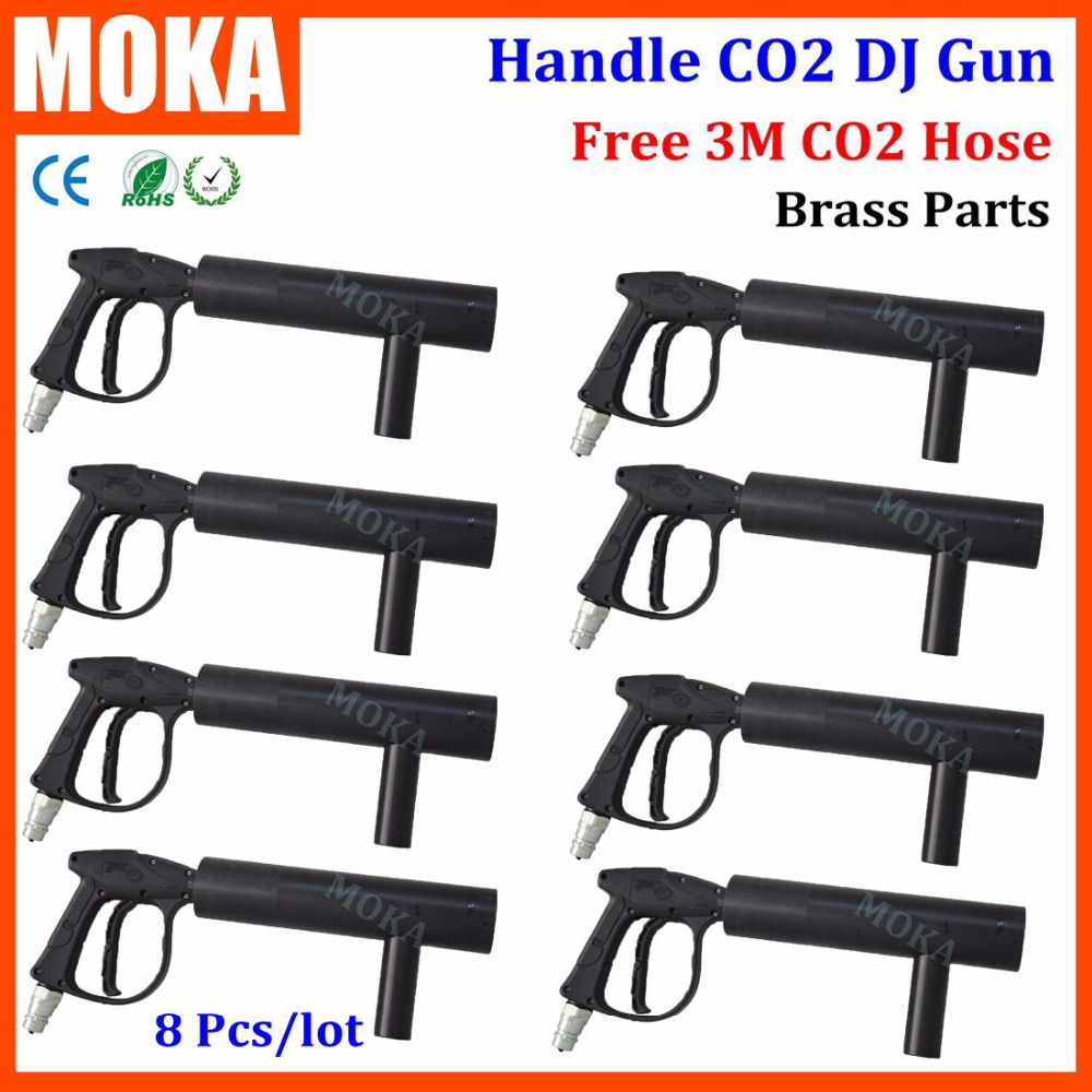 Подробнее о 8 Pcs/lot MOKA Stage CO2 Cryo Gun Kryo Jet Special Stage Effects CO2 handheld Gun co2 jet machine fogger with free 5FT Hose handheld led co2 gun cryo led co2 jet machine pistol special effects co2 cannon guns free co2 gas hose