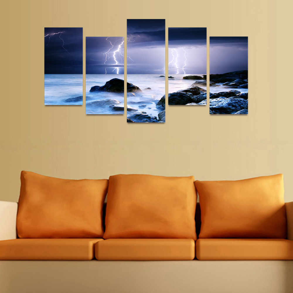 5 Panels Canvas Print Lightning On Dark Night Ocean Painting Wall ...