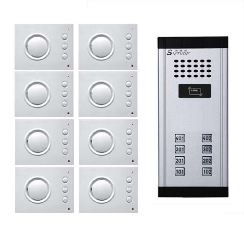 SMTVDP Building Intercom System Audio Door Phone for 8apartment,4-wired Audio Doorphone W/T Hand-free Indoor Unit,ID Card Unlock