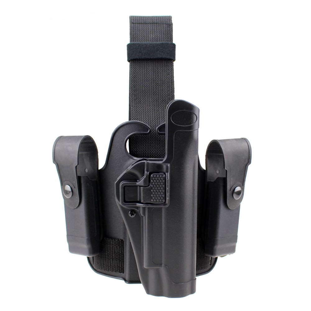 Tactical 1911 Leg Holster Right Hand Paddle Drop Thigh Pistol Gun Holster with Snap Button Magazine Torch Pouch for Colt 1911