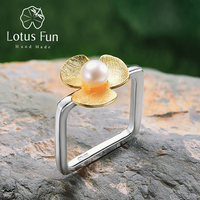 Lotus Fun Real 925 Sterling Silver Jewelry Natural Handmade Square Pearl Ring Fresh Clover Flower Rings for Women Engagement