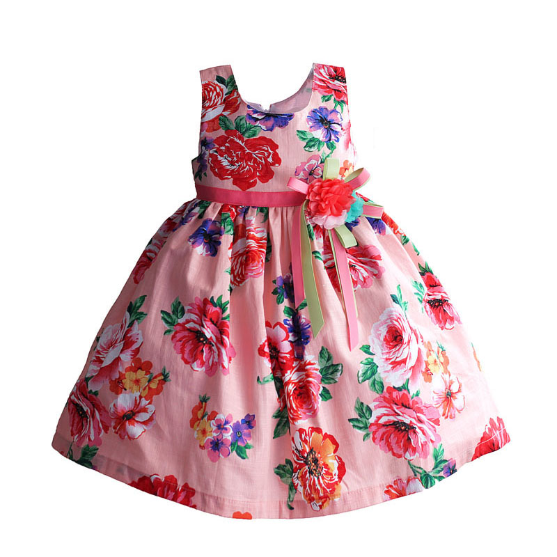summer dress pink rose floral fold cotton casual kids dress fashion 3 flowers bow girls party dresses vestidos 3-8T 2018 new fashion little girls summer floral dress print flowers loose casual party dress for gril cotton children kids clothes