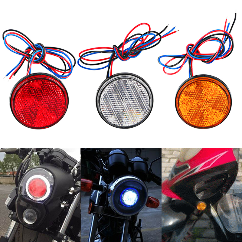 12V Universal Car Motorcycle LED Reflector Lamp White Red Yellow Round Rear Tail Brake Stop Marker Light For Motorbike Scooter 5pcs universal motorbike 24 led driving lights motorcycle turn signal brake lamp tail light stop lighting scooter accessories