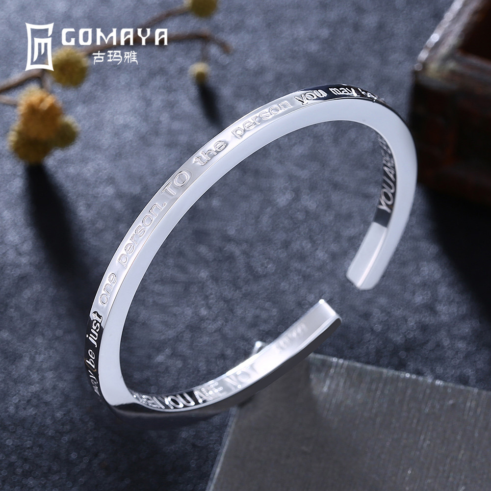 GOMAYA 999 Sterling Silver Lettering Bangles Bracelet for Women Girl Birthday Gift Elegant Fine Jewelry Adjustable Cuff Bracelet