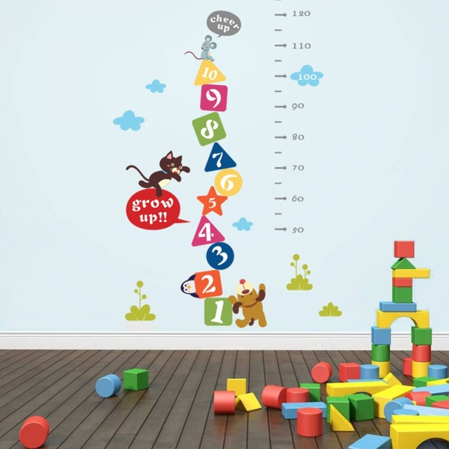 Cat Mouse Dog Cheer Up Cartoon Height Measure Wall Sticker Kids