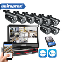 8CH Security Camera System 8Pcs 2.0MP Outdoor IP Camera POE 1080P 8CH PoE NVR Kit 10.1'' LCD Monitor Email Alert CCTV Camera Kit