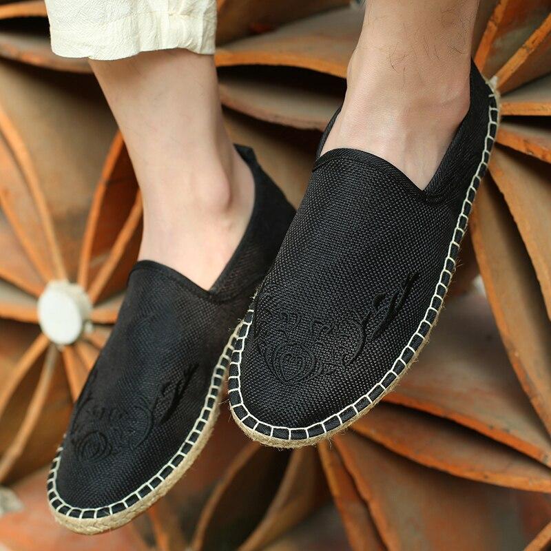 BVNOBET Men Linen Espadrille Fisherman Shoes Men Flats Plimsolls Canvas Embroidery Fashion Flat Heels Tenis Masculino Adulto