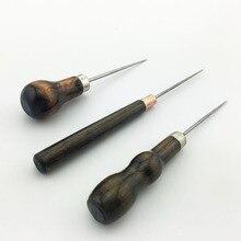3 piezas de mango de madera Awl DIY tienda de cuero de costura Awl Pin perforadora herramienta de reparación de costura de mano