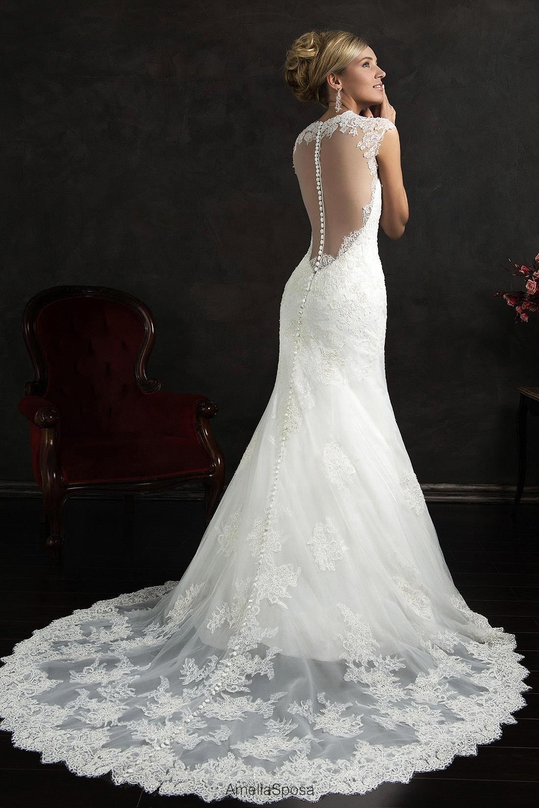 Robe De Mariage Sheer Back Sleeveless Mermaid Wedding Dresses With ...