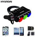 HYUNDAI 3 in 1 Cigarette Lighter Power Adapter Socket Splitter 3.1A 12V-24V USB Car Charger for iPhone iPad Car-Charger DVR GPS
