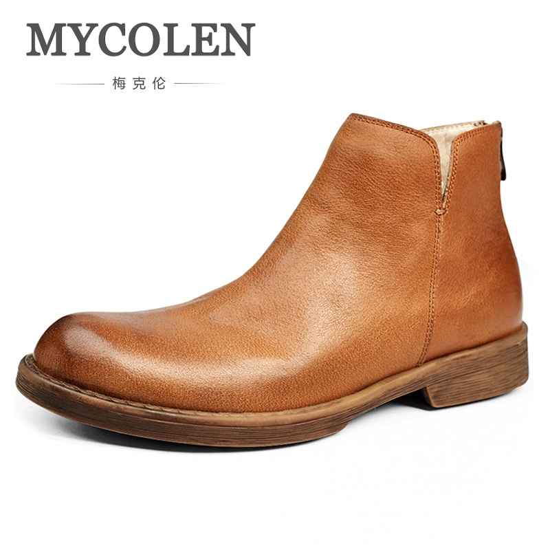 MYCOLEN New Arrivals Brand Quality Genuine Leather Winter Boots Men Warm Shoes Men Handmade Round Toe Zip Men Boots Bottine kd00000036