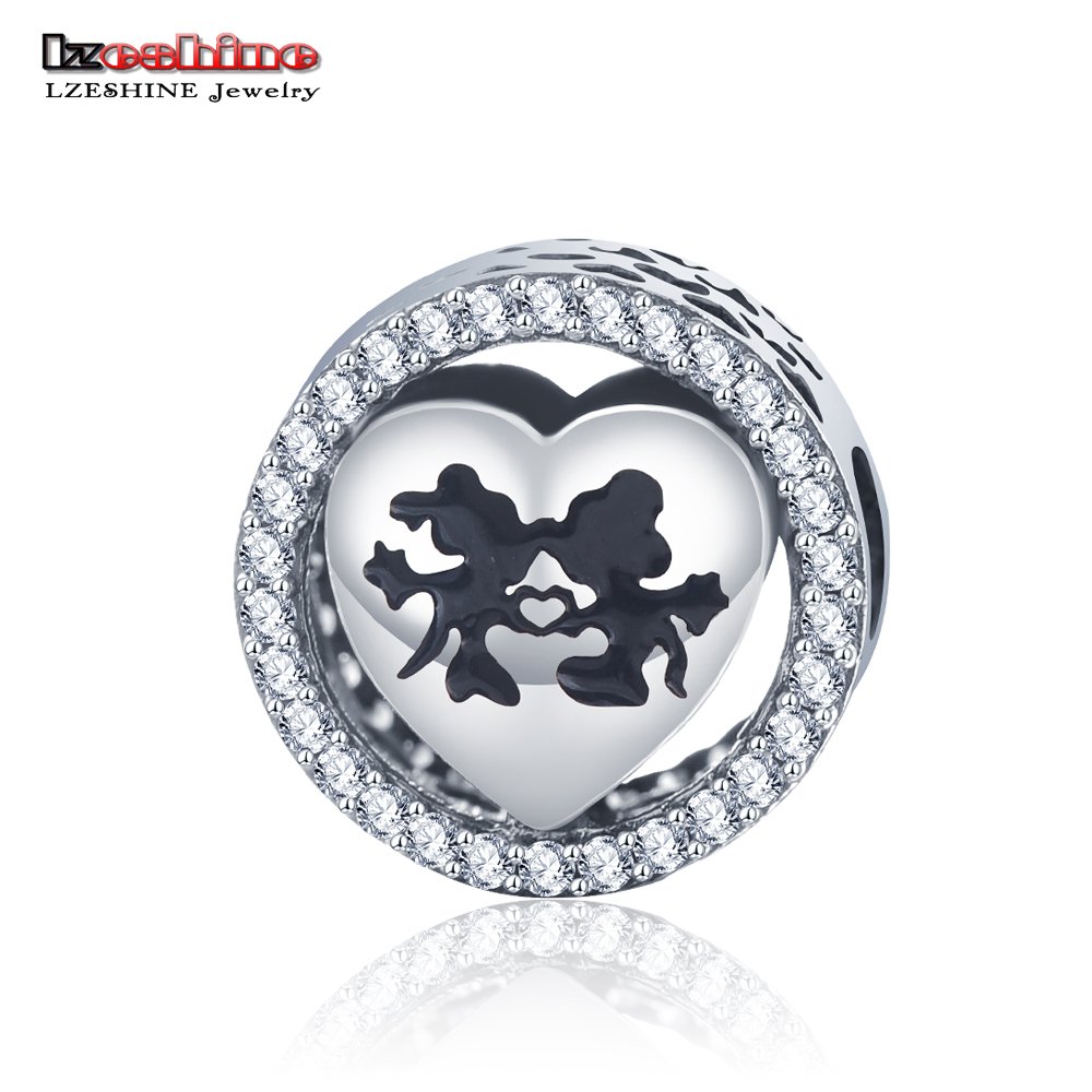 LZESHINE 925 Sterling Silver Sweet Cartoon Love Charm with AAA CZ Charms Beads Fit Bracelet Pendant Jewelry PSMB0714