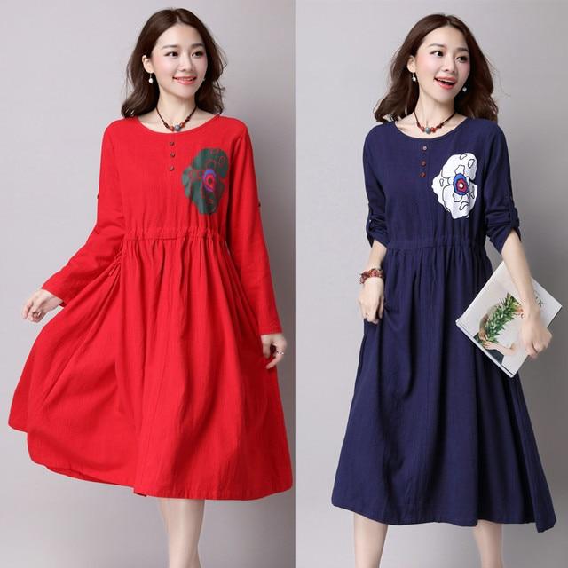 Hohe qualität mutterschaft kleider volle hülse lose lange rot blau ...