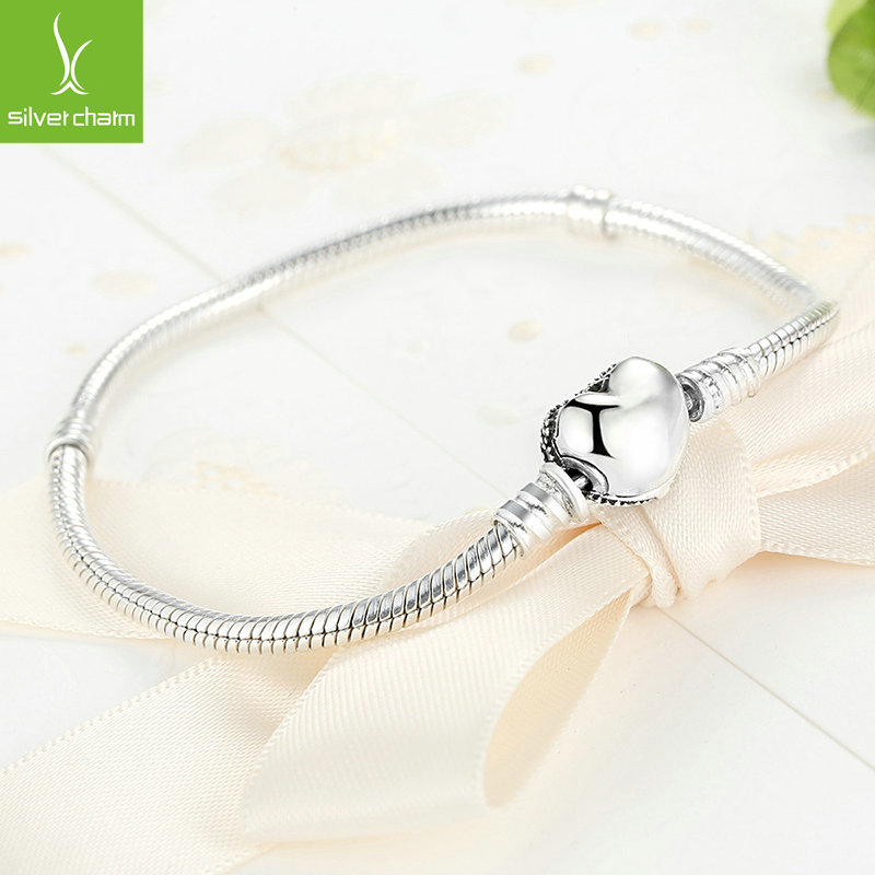 Memnon Authentic 925 Sterling Silver Love Heart Snake Chain Bracelets for women fit charms DIY beads bangle fashion Jewelry 4 style 925 basic snake chain bracelets round flower love heart pink color buckle bracelets for women diy charms jewelry