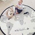135 CM Madre Cuidado Estera Del Juego Del Bebé Mundo Mapa Manta de Bebé invierno de Los Niños Jugar en el Suelo Viajes Estera Alfombra Redonda zak bebek battaniye