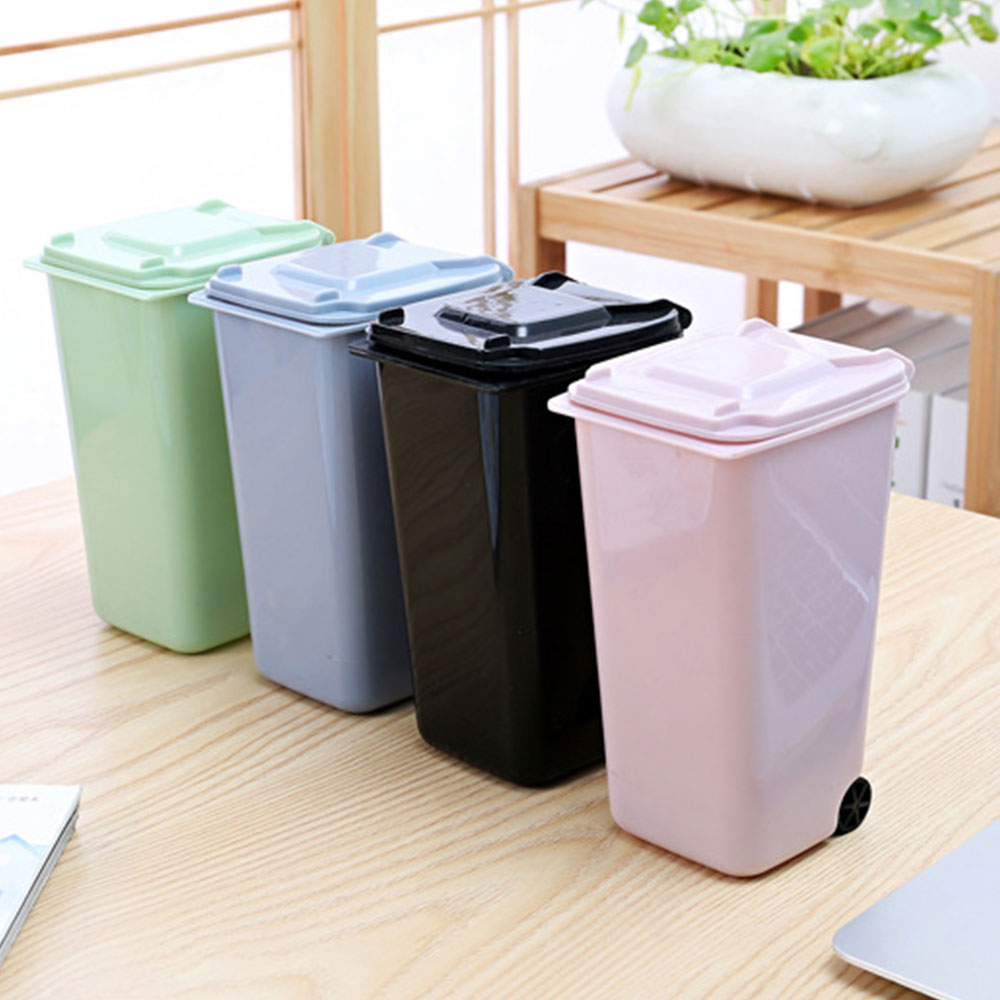 Storage Bin Wheelie Trash Can Dustbin The Office Kitchen bag holder Durable Sturdy 10*8*15.5cm 4 Color Desktop