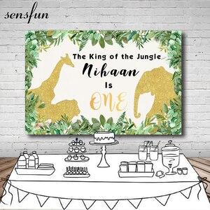 Image 1 - Sensfunゴールドグリッター象動物ベビーシャワーの写真の背景カスタム野生もの誕生日パーティー背景小道具