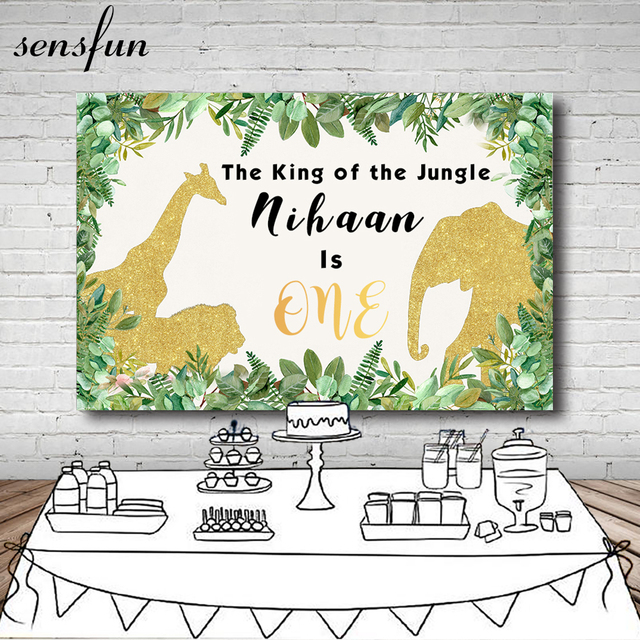 Sensfunゴールドグリッター象動物ベビーシャワーの写真の背景カスタム野生もの誕生日パーティー背景小道具