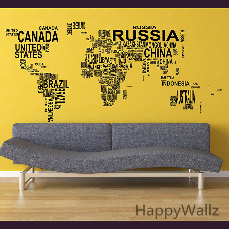Carte du monde Sticker mural carte du monde Sticker mural 3D moderne papier peint carte Sticker mural décoration moderne décor M35
