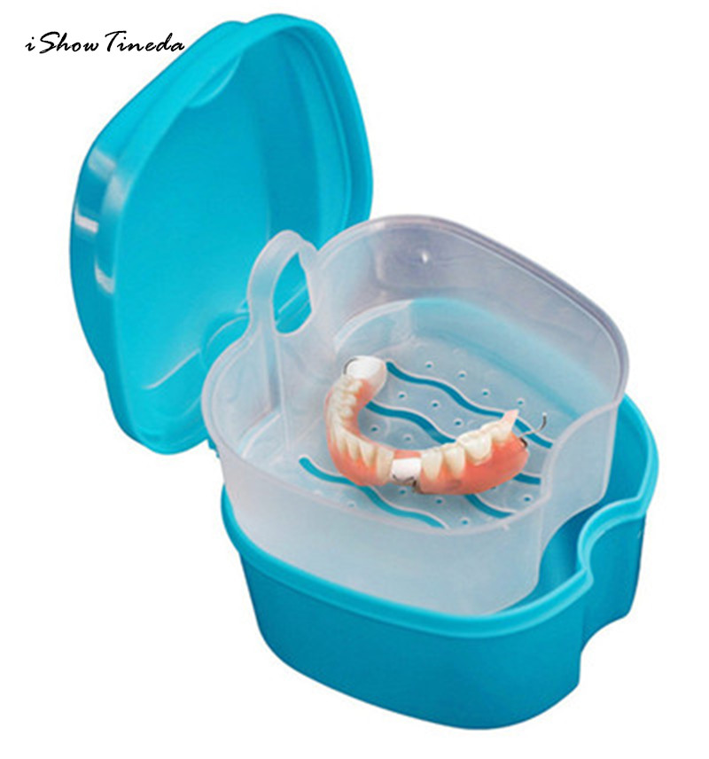 ISHOWTIENDA 2017 New 1PC 9 X 9X 7cm Denture Bath Box Case Dental False Teeth Storage Box with Hanging Net Container New