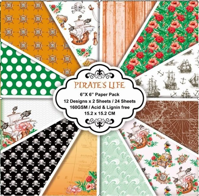 """6"""" 12 Sheets Retro Pirate Sail theme Scrapbook Paper Origami Paper DIY Background Card Making  Home deco arts and crafts"""