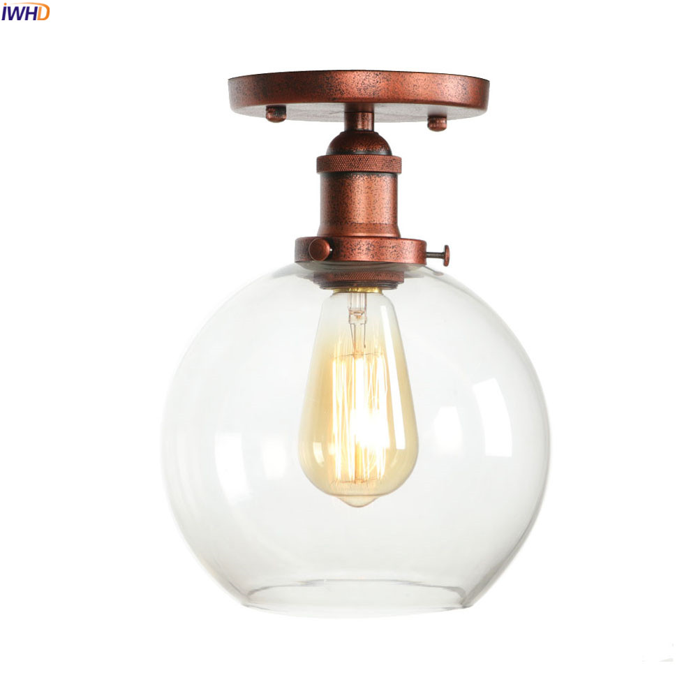 IWHD Loft Industrial Style LED Ceiling Light Fixture Living Room Glass Ball Edison Vintage Ceiling Lamp Plafonnier Lampara TechoIWHD Loft Industrial Style LED Ceiling Light Fixture Living Room Glass Ball Edison Vintage Ceiling Lamp Plafonnier Lampara Techo