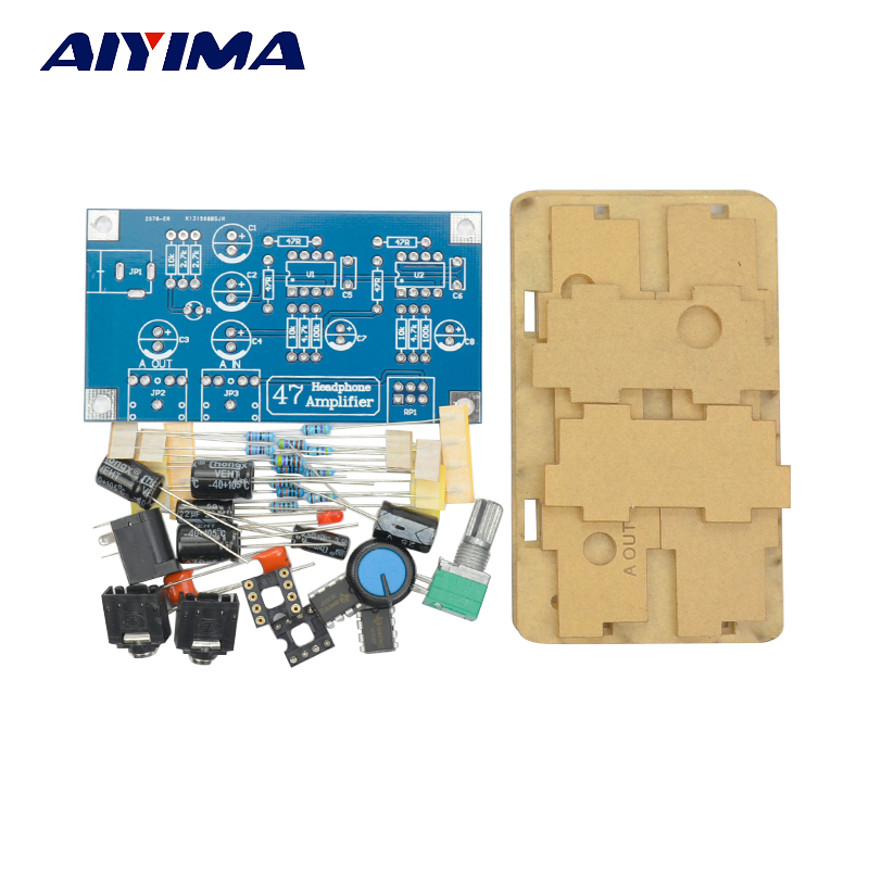 Aiyima Headphone Amplifier Audio Board Amplificador 47 Classic Headphone Amplifier DIY Kit with Case