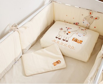 Promotion! 7PCS embroidery crib bumper baby cot sets baby bedding baby girl bumpers sets ,include(2bumper+duvet+sheet+pillow)