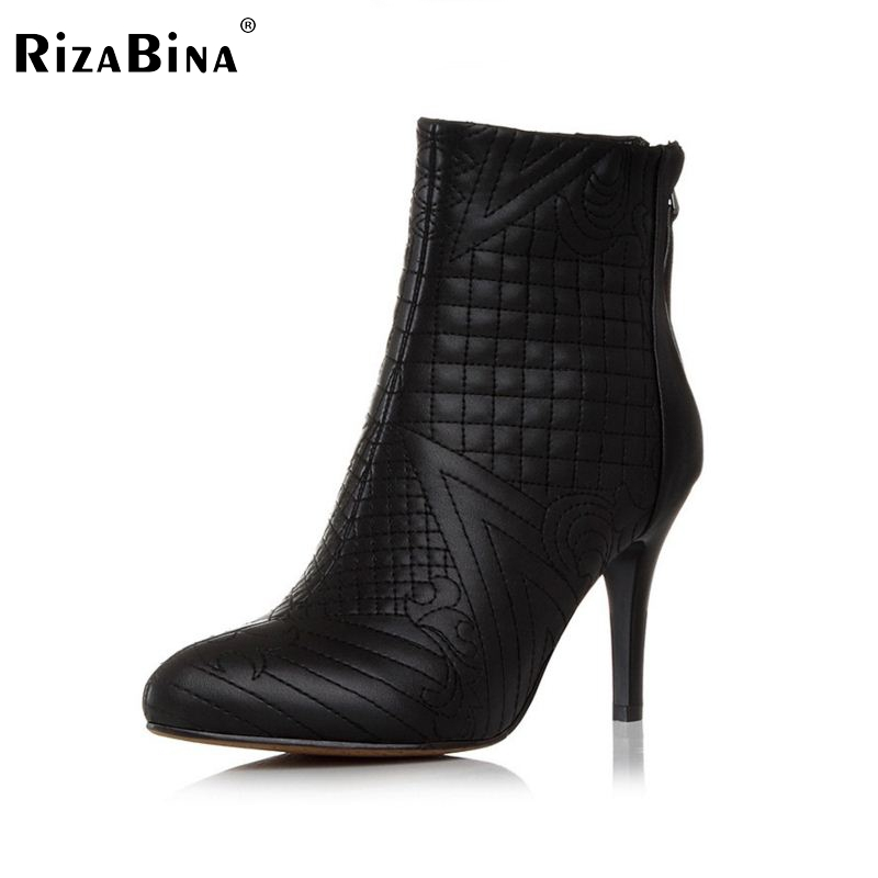 RizaBina Free shipping ankle half short natural genuine leather high heel boots women snow warm boot shoes R5127 EUR size 33-42