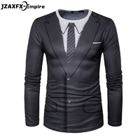2017 Newest Men Long Sleeve T Shirt O Neck Male Print Fake Suit T Shirt High