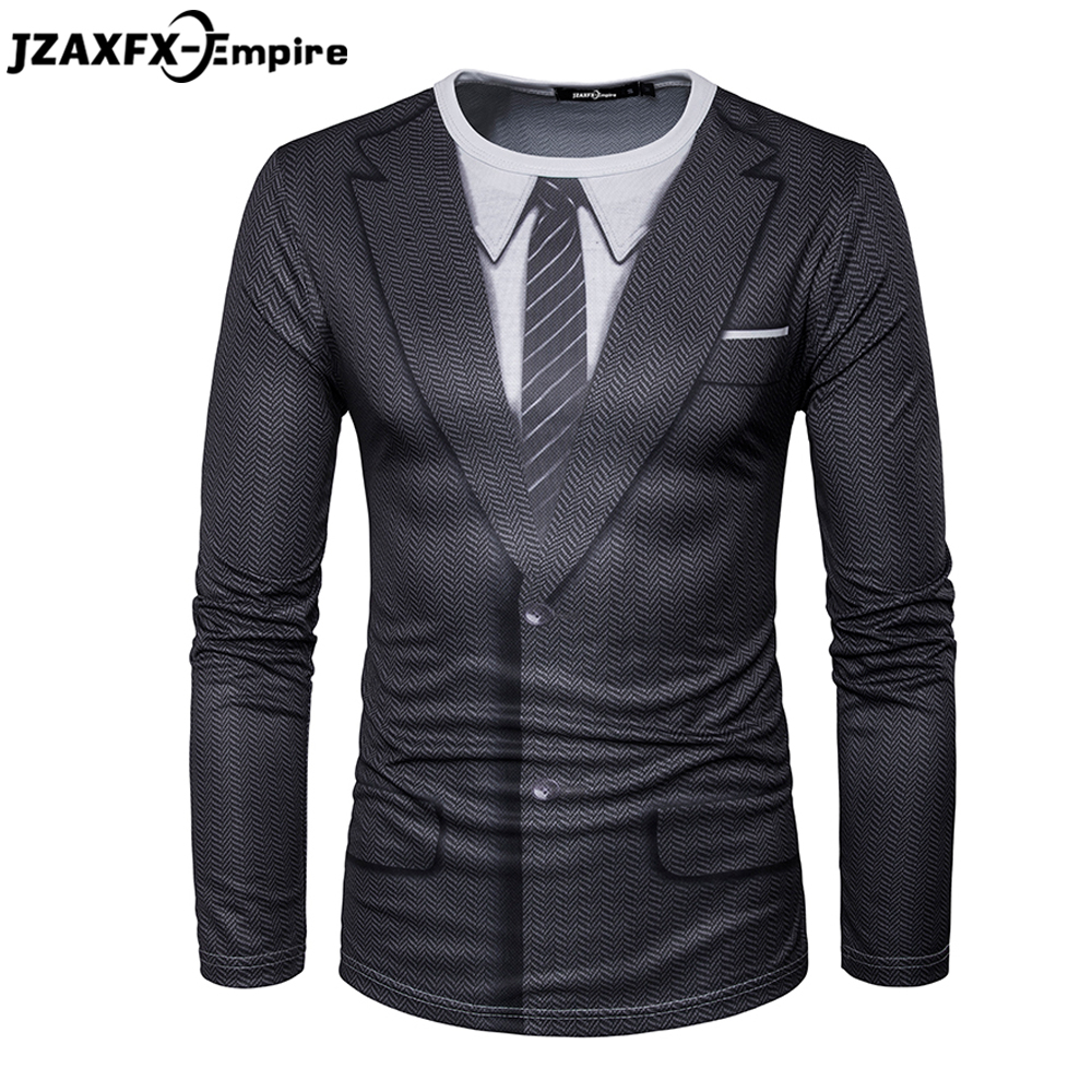 2018 Nieuwste Mannen Lange Mouw T-shirt O Hals Mannelijke Print Nep Pakje T-shirt Hoge Kwaliteit t-shirt mannen merk kleding