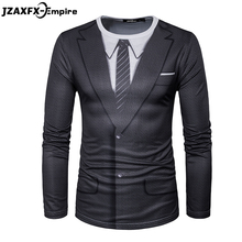 2018 Newest Men Long Sleeve T Shirt O Neck Male Print Fake Suit T-Shirt High Quality t shirt men brand clothing