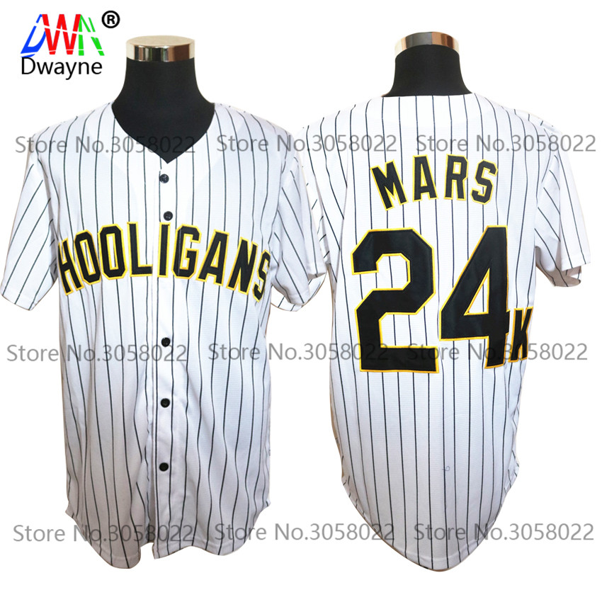 Bruno Mars 24K Hooligans White #20 Pinstriped BET Awards Baseball Jersey Throwback For Men Stripe Stitched Button Down Glod Edge ...