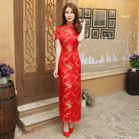 Red Chinese Women Dress Vintage Satin Qipao Sexy Long Slim Cheongsam Hot Sale Flower Dress Size