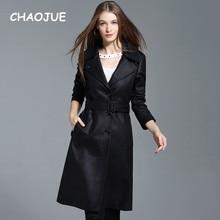 CHAOJUE Brand England Woman Fashion Long Trench Coat 2018 New Design Black Singl