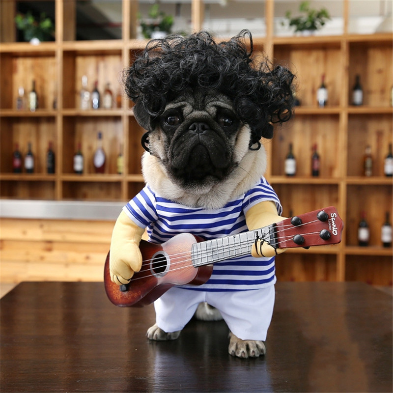 Funny Pet Guitar Rock Singer Cosplay Dog Costume T-shirt Dressing Up Party Cloting MLXL Cat Clothes Costumes Puppy Clothes Suit