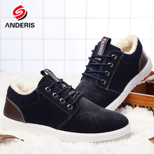 2017 Fashion Men Winter Snow Boots Suede Warm Boots Men's Plush Fur Ankle boots Lace up Casual high top Shoes botas masculina