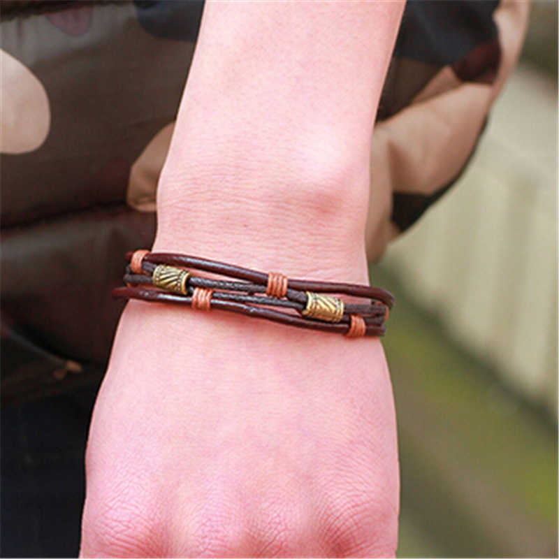Moda biżuteria męska pleciona bransoletka skórzana ręcznie bransoletka ze stali nierdzewnej z brązu Zapięcia magnetyczne mężczyźni na rękę Band prezenty