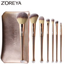 ZOREYA 8pcs Gold Color Makeup Brushes Professional Cosmetic Tools For Beauty Face Make Up Powder Blusher Brush With Leather Bag