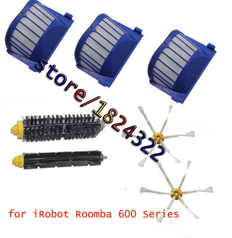 3 AeroVac Filter + Hair Brush kit + 2 side brush for iRobot Roomba 600 Series 528 529 620 630 650 660 Vacuum Cleaner Accessories bristle brush flexible beater brush fit for irobot roomba 500 600 700 series 550 650 660 760 770 780 790 vacuum cleaner parts