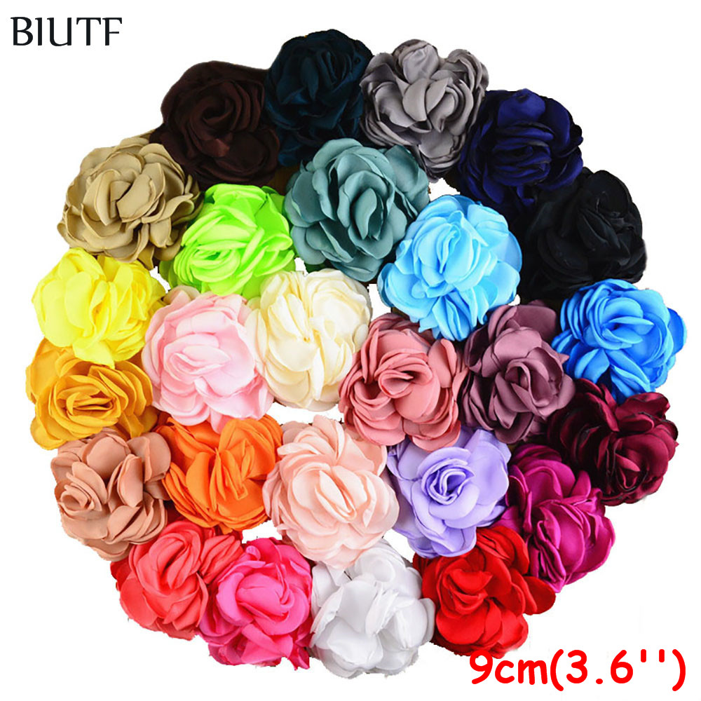 100pcs lot 9 0cm Burnt Satin Rosette Flower Gorgeous Baked Flora Dress Headwear DIY Accessories 26