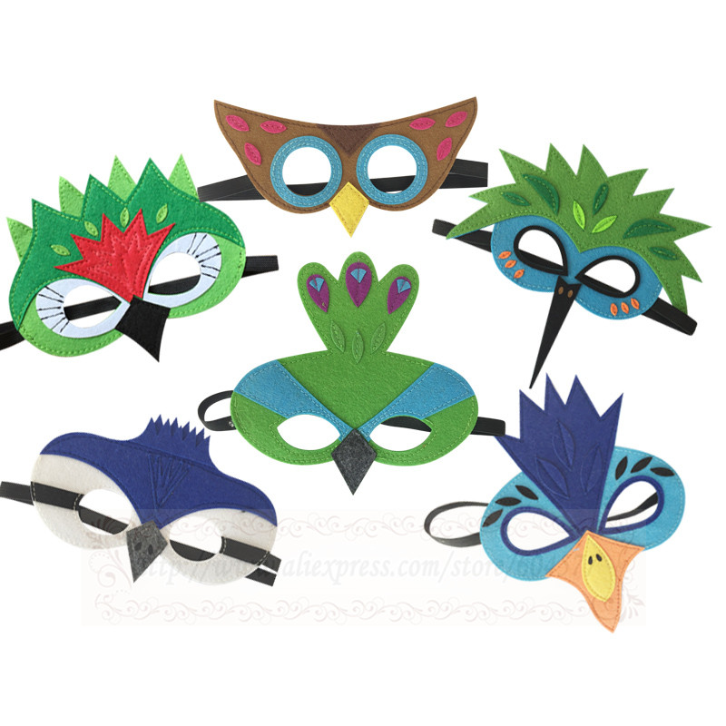 Bird Costumes Masks Boys and Girls Hornbill Blue jay Humming bird Peacock Green Parrot OWL Inspired Masks Halloween Costume