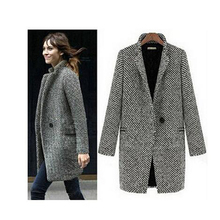 Бесплатная доставка элегантных женщин зимняя шерсть пальто плюс размер серый теплый хлопок траншеи laides бархатные толстые куртки длинном пальто