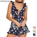M. H. Artemis Estilo Ruffles Elegante Macacão Boemia Floral Impressão Playsuit Verão Backless Sexy Romper arco curto praia macacão