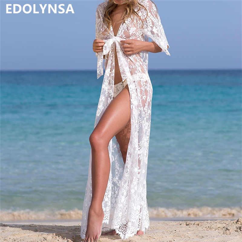 285ff09f7c2e7 Tunics for beach Long Lace Beach Dress Women Swim Cover up Plus size Saida  de Praia
