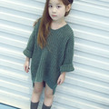 2016 Новая Мода Подростков Малыша Девушки Свитер Комплект Одежды для Девочки-Подростка Детей Платье детская Одежда бальные платья для детей