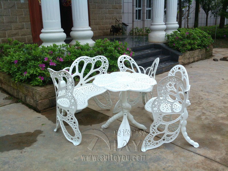 4 piece butterfly cast aluminum dining chair and table for Garden accessories online