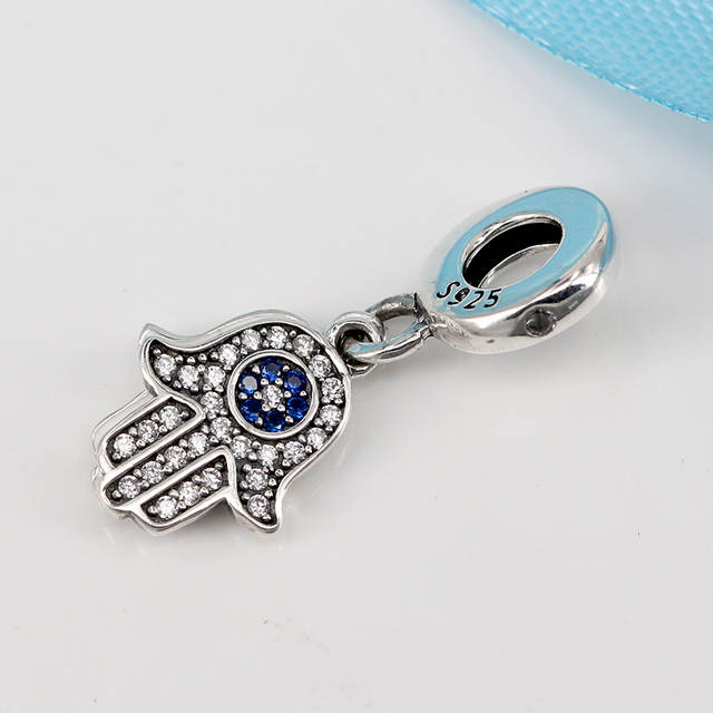 fd1eeec73df18 New 100% 925 Sterling Silver Charm Bead Lucky Hamsa Hand Pendant Charms  Blue Crystals Fit Pandora Bracelets Women DIY Jewelry