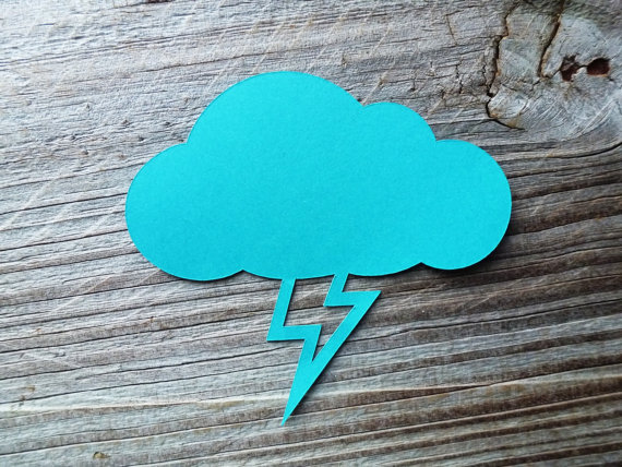 lightning bolt in rain cloud favor tags wedding wish tree present